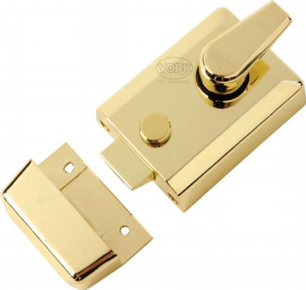 M Marcus York Security NL3060-PB Cylinder Rim Nightlatch 60mm  Polished Brass